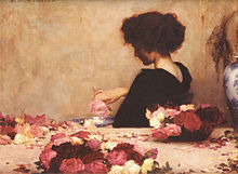 Painting of a woman making potpourri, 1867